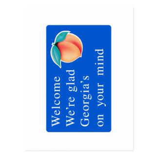 Cartão Postal Boa vinda sinal de estrada de Geórgia - EUA