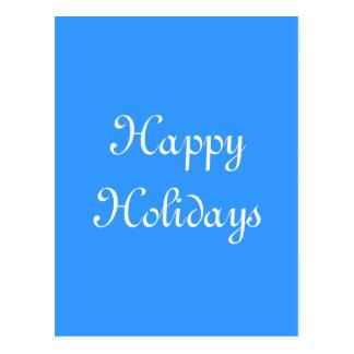 Cartão Postal Boas festas. Azul e branco. Festivo