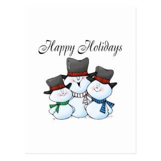 Cartão Postal Boas festas família do boneco de neve