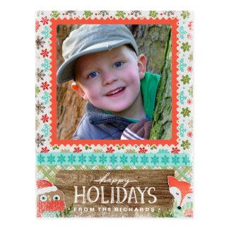 Cartão Postal Boas festas foto do Natal do divertimento do Fox e