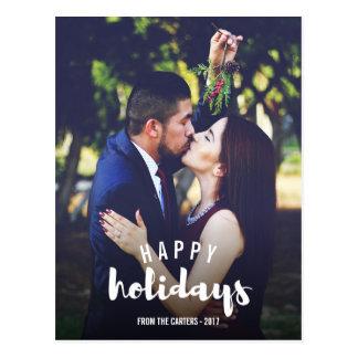 Cartão Postal Boas festas foto personalizada esboçada