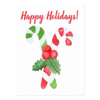 Cartão Postal Boas festas Natal do bastão de doces da aguarela