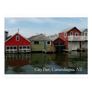 Cartão Postal Boathouse: Cais da cidade, Canandaigua, NY