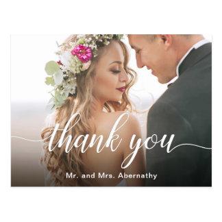 Cartão Postal Boho inspirou o obrigado da foto do casamento você