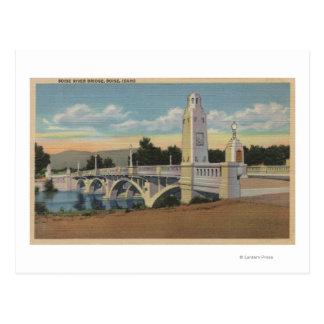 Cartão Postal Boise, identificação - vista da ponte do rio de