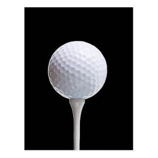 Cartão Postal Bola de golfe e T em Preto personalizado