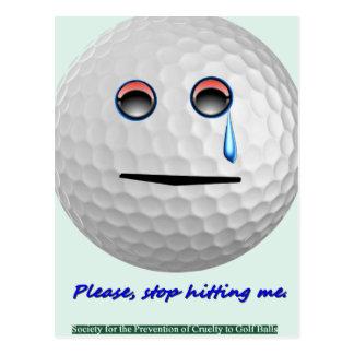 Cartão Postal Bola de golfe - pare de por favor bater-me