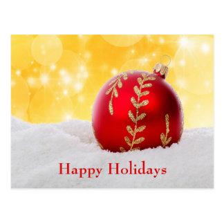 Cartão Postal Bola do Natal da neve de Bokeh do Natal