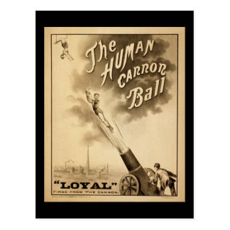 Cartão Postal Bola humana de Canon do poster do circo do vintage