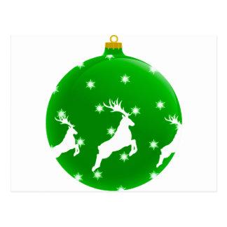 Cartão Postal Bola verde da decoração do Natal