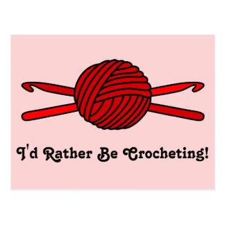 Cartão Postal Bola vermelha dos ganchos do fio & de Crochet