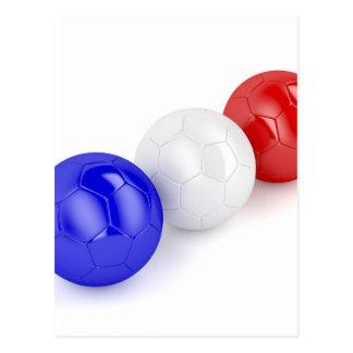 Cartão Postal Bolas do futebol com a bandeira de France