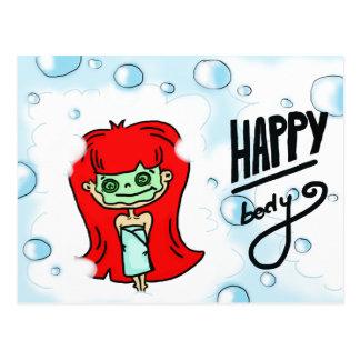 Cartão Postal Bolhas felizes do corpo & do banho