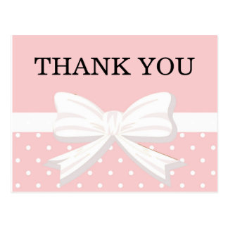 Cartão Postal Bolinhas & obrigado cor-de-rosa e brancos do