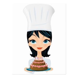 Cartão Postal Bolo de aniversário do cozinheiro chefe da mulher