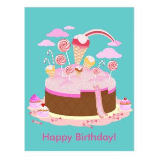 Cartão Postal Bolo dos doces e de chocolate para a festa de