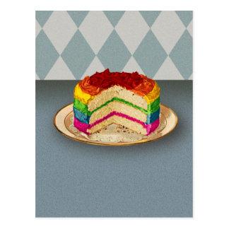 Cartão Postal Bolo retro do arco-íris