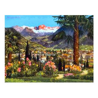 Cartão Postal Bolzano, Italia, e os cumes próximos