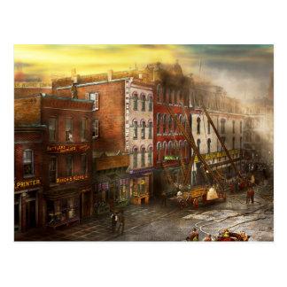 Cartão Postal Bombeiro - Washington DC - fogo no fundamento de