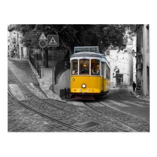 Cartão Postal Bonde amarelo clássico em Lisboa
