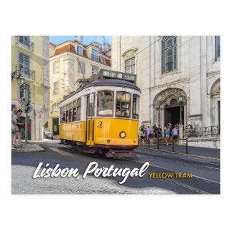 Cartão Postal bonde amarelo em Lisboa, Portugal