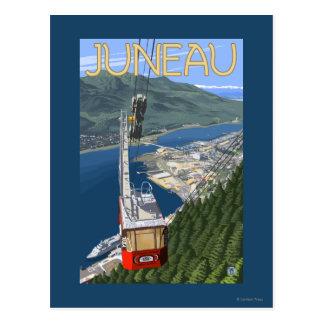 Cartão Postal Bonde sobre poster das viagens vintage de Juneau,