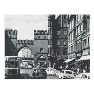 Cartão Postal Bondes do vintage Alemanha, do Munich, da cidade e