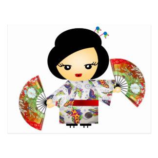 Cartão Postal Boneca com Kimono