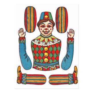 Cartão Postal Boneca cortada papel do palhaço de circo de