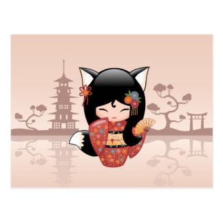 Cartão Postal Boneca de Kitsune Kokeshi - menina bonito do Fox