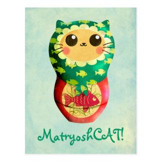 Cartão Postal Boneca de Matryoshka do gato