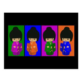 Cartão Postal Bonecas bonitos de Kokeshi do pop art