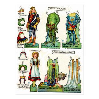 Cartão Postal Bonecas de papel do conto de fadas