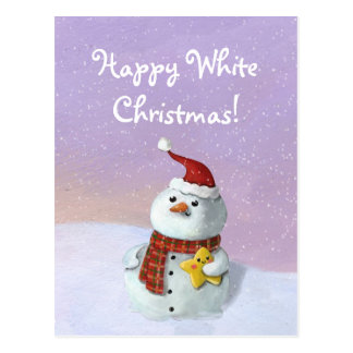 Cartão Postal Boneco de neve bonito do Natal