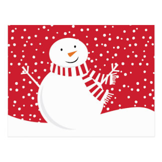 Cartão Postal boneco de neve contemporâneo moderno do inverno