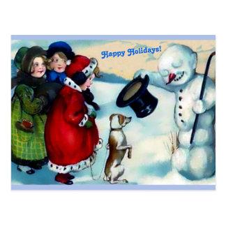 Cartão Postal Boneco de neve de Vintaage, meninas, cão, boas