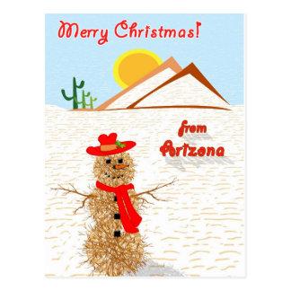 Cartão Postal Boneco de neve do amaranto da arizona