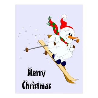 Cartão Postal Boneco de neve do Feliz Natal em esquis
