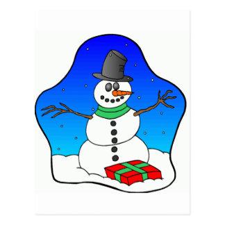 Cartão Postal Boneco de neve do Natal feliz