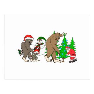 Cartão Postal Boneco de neve do papai noel de Bigfoot