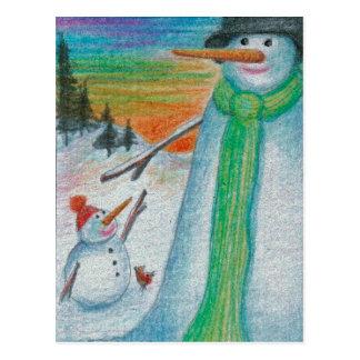 Cartão Postal Boneco de neve do Poppa e seu filho bitty pequeno