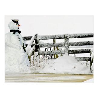 Cartão Postal Boneco de neve no inverno nos Países Baixos