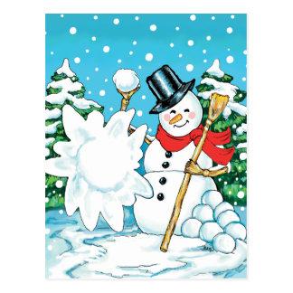 Cartão Postal Boneco de neve que joga um divertimento Splat do
