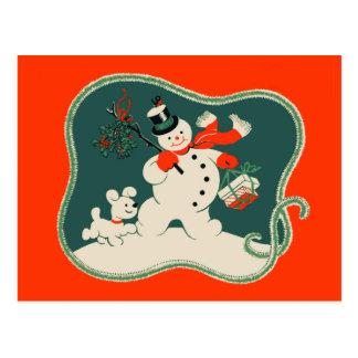 Cartão Postal Boneco de neve retro