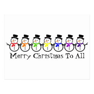 Cartão Postal Bonecos de neve do arco-íris do Feliz Natal