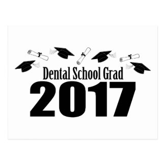 Cartão Postal Bonés do formando 2017 da escola dental e diplomas