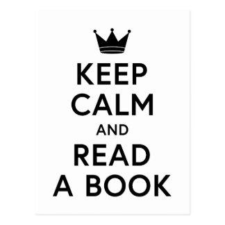 Cartão Postal Bookish mantenha a calma e leia um livro