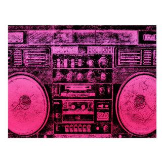 Cartão Postal boombox cor-de-rosa
