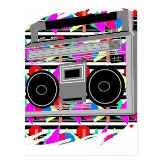 Cartão Postal boombox RETRO estereofónico dos anos 80 do hip-hop