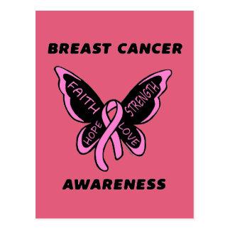Cartão Postal Borboleta/cancro da mama da consciência…